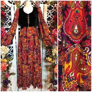 Neon gypsy witch medieval corset prairie dress